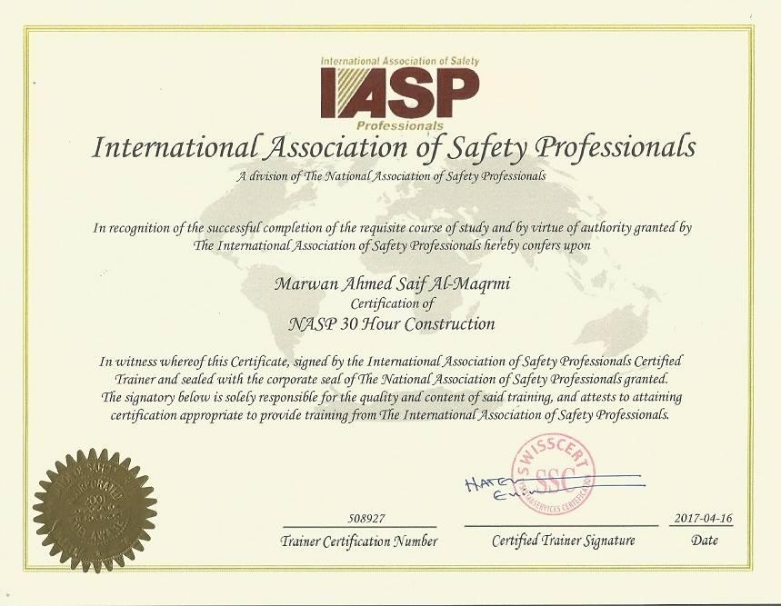 وصول الشهادات المعتمدة من الجمعية الأمريكية للسلامة (NASP/IASP ...